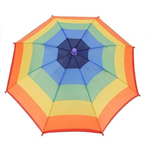 VGEBY1 Regenschirm Hut, Faltbarer Kopf Sonnenschirm Regenschirm Kopfschirm Als Hut für Outdoor-Aktivitäten Golf Angeln Camping(Bunter Streifen)
