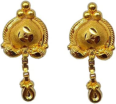 High material Certified Solid 22K 18K Yellow Fine Gold Chain Challenge the lowest price Ear Single Design