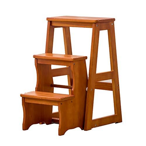 Trapladder hout 3 traptreden bloemenstandaard klapladder multifunctionele binnenhuishouden opstappen op de kleine ladder