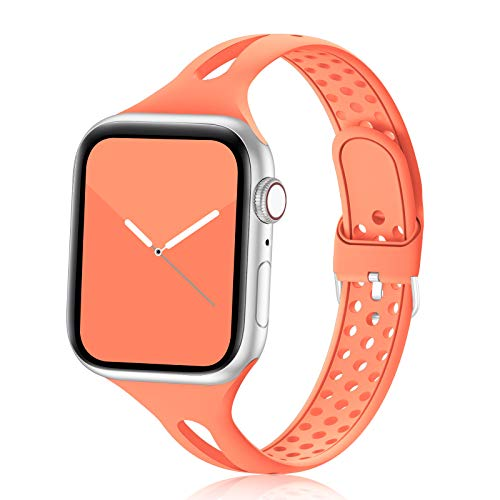 Bandiction Compatible with Apple Watch Bands 38mm 40mm Series 5 Series 3 Women Slim Silicone Sport Band Breathable iWatch Bands Narrow Replacement Strap for iWatch Series 6 SE 5 4 3 2 1, Apricot Red