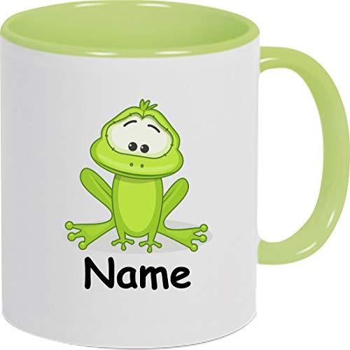 Shirtinstyle Kaffeepott, Tasse, Frosch mit Wunschnamen, Wunschtext, Spruch Name Text Becher Mug Kaffeetasse, Tiere, Natur, Farbe hellgrün