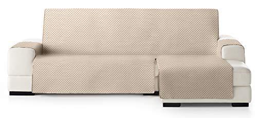 JM Textil Funda Cubre Sofá Chaise Longue Elena, Protector para Sofás Acolchado Brazo Derecho. Tamaño -290cm. Color Marfil 01 (Visto DE Frente)