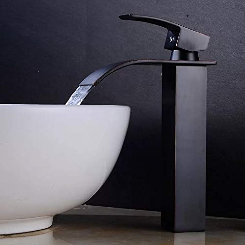 LJ Europischen Stil High schwarz schwarz Bronze Antique Aufsatzbecken Einlochmontage Wasserfall Wasserhahn Hchste Qualitt (Größe   HIGH)