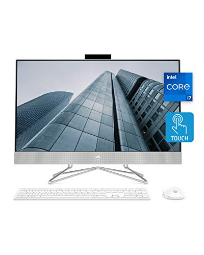 HP 27 All-in-One PC, 11th Gen Intel Core i7-1165G7 Processor, 16 GB RAM, 512 GB SSD, 27 Full HD Touchscreen, Windows 10 Home, Wireless Mouse & Keyboard, Dual-Array Mic, 1080p Webcam (27-DP1280, 2020)