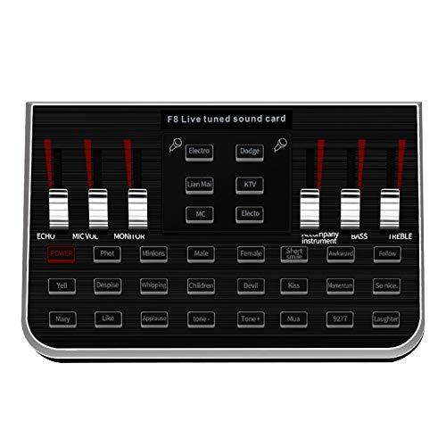 YDong Sintetizador de MúSica SintonizacióN Tarjeta de Sonido Ancla de Audio Equipo de Canto TeléFono MóVil Computadora MicróFono Cambio de Voz