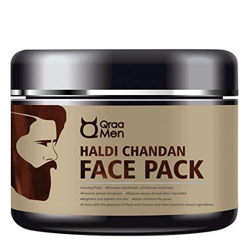 Qraa Men Haldi Chandan Face Pack for Skin Brightening/Lightening/De-Tan with Turmeric Oil and Sandalwood, 120 g