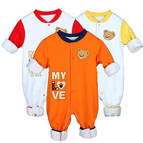 GHQYP Regalos Personalizados Bebe,Ropa Recien Nacido Niño/Niña Adecuado para 0-15 Meses,Body de Algodón Cálido con Patrón de Oso Lindo de Dibujos Animados,3PCS,80CM(9-12Months)