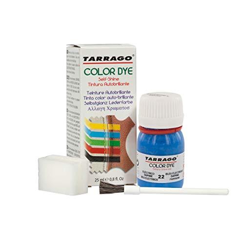 Tarrago | Self Shine Color Dye 25 ml | Tinte Para Cuero y Lona Acabado Brillante Para Teñir Zapatos y Accesorios | Tintura de Secado Rápido Para Reparar el Calzado | Anti Rozaduras (Azul Eléctrico 22)