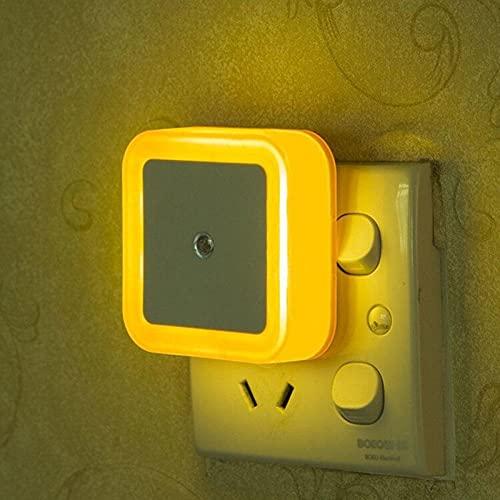 Luz de noche LED mini sensor de control de luz cuadrado dormitorio sala de estar pasillo baño protección para los ojos enchufe UE / EE. UU. Lámpara de noche-Amarillo_