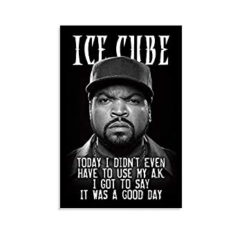 Ice Cube Hip Hop Rapper Singer Motivatlonal Portrait Black And White Retro Cool Poster , Wall Art Decoration Frame Posters And Life Picture , Commemorative Gift for Men And Women s Bedroom , Infamou P