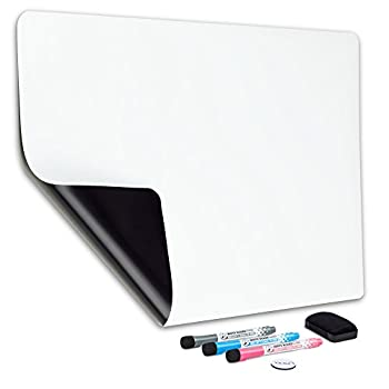 Magnetic Dry Erase Whiteboard Sheet for Fridge 19x13 in - with Stain Resistant Technology - Includes 3 Fine Tip Markers & Big Eraser with Magnets - Refrigerator White Board Planner & Organizer