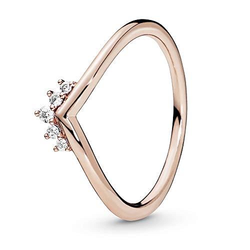 Pandora Diadem-Wishbone Ring in Roségold mit 14 Karat rosévergoldete Metalllegierung und Cubic Zirkonia Steinen aus der Pandora Timeless Collection, Größe 54