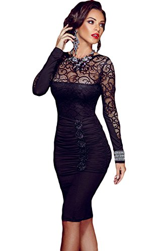 emmarcon Mini Abito da Donna Cerimonia Pizzo Cocktail Dress Party Vestito Vestitino Tubino Casual-Black-L