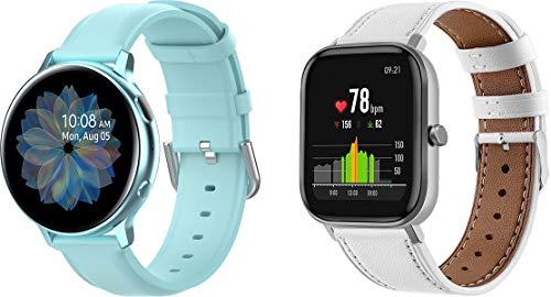 Simpleas Schnellverschluß Uhrenarmbänder kompatibel mit Amazfit GTR 42mm / GTS/Bip/Bip Lite - Leder Armbänder für Herren und Damen im eleganten Stil (20mm, 2PCS D)