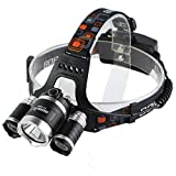 Lightess Rechargeable LED Headlamp Flashlight Torch 6500 Lumens Head Lamp RJ-5000 With Batteries Wall Charger (RJ-5000)