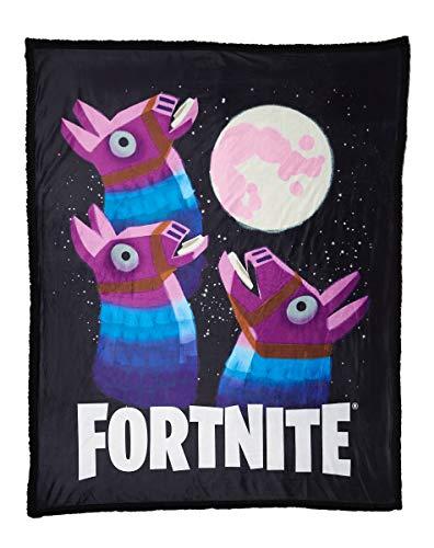 Spirit Halloween Fortnite Loot Llama Sherpa Fleece Blanket - Moon | Officially Licensed