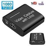 MOSOY - Tarjeta de captura de vídeo HDMI con bucle, 4K HD 1080P 60FPS USB 2.0 tarjeta de captura para transmisión en vivo