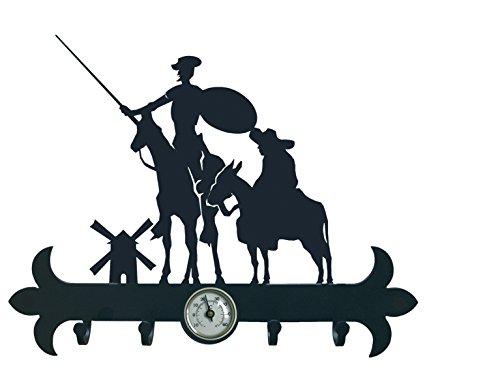 IMEX EL ZORRO El Zorro 11625-Colgador de Llaves Don quijote y Sancho, 290 mm, Hierro Forjado, Negro, 2.5x29x15.9 cm