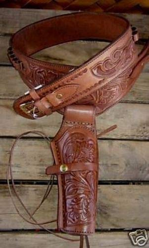 NEW! Brown Genuine Leather Single Western Cowboy Holster Rig...
