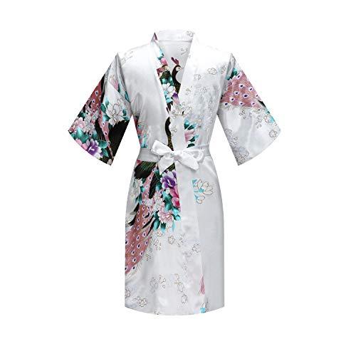 MORFORU Girls Kids Peacock Silky Satin Kimono Robe Sleepwear for Wedding Spa Party, Short (White, Tag 12 for 4'1' to 4'7' Girl)