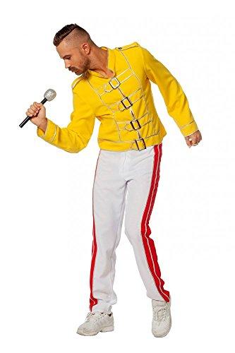 shoperama King Freddie Deluxe Herren Kostüm Rockstar Jacke und Hose Mercury Freddy Sänger Topqualität, Größe:58
