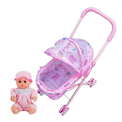 Muñeca Cochecito Mini Simulación de la muñeca con muñeca Cochecito Infantil Juego de imaginación Muebles Juguete Cochecito de bebé Cochecito 1Ponga