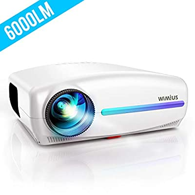 Projector, WiMiUS Native 1080P Projector 6000 Lumens Led Video Projector Support 4K HD Zoom ±50° Digital Keystone Cor, Outdoor & Home Projector Compatible with Fire TV Stick, PS4, PC, iPhone, Android
