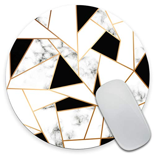 Amcove Marble Texture Design with Golden Geometric Lines Mouse pad, Black and White Marbling Surface Round Non-Slip Rubber Mousepad Gaming Mouse Pad