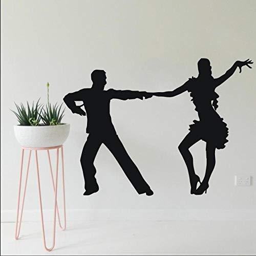 ZJfong Bailarines latinos Silueta de baile Etiqueta de la pared Sala de estar en casa Estilo de la moda Decoración Mural de vinilo de pared 57x80 cm