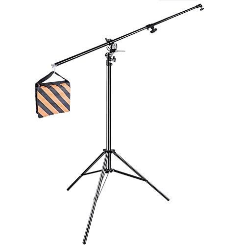Neewer 10086546 - 390cm 2 Voies Rotation Boom Lumière Trépied Réglable en Aluminium avec Sac de Sable pour Trépied pour Studio Photo Vidéo