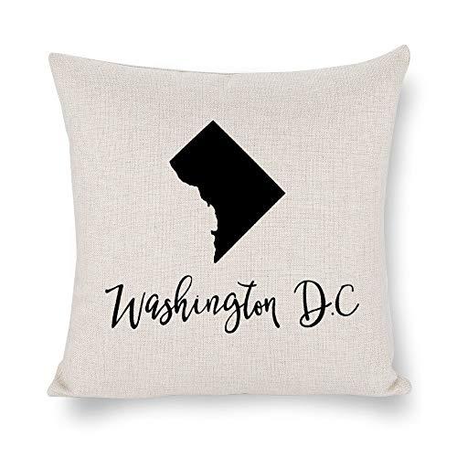 Washigton DC - Funda de cojín con silueta de mapa, 4 de julio, lino rústico decorativo, funda de almohada lumbar decorativa para silla, habitación, sofá, coche, decoración del hogar, regalo de inauguración de la casa, 45 x 45 cm lyg2jwkcn1t1