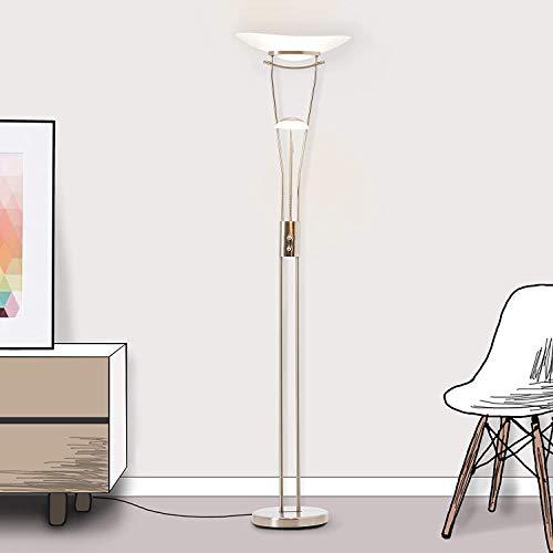 Lightbox Deckenfluter - Stehlampe LED dimmbar mit Leselampe, 1x 18 Watt LED integriert, 1x 2200 Lumen, 3000 Kelvin, Metall/Glas, eisen/weiß