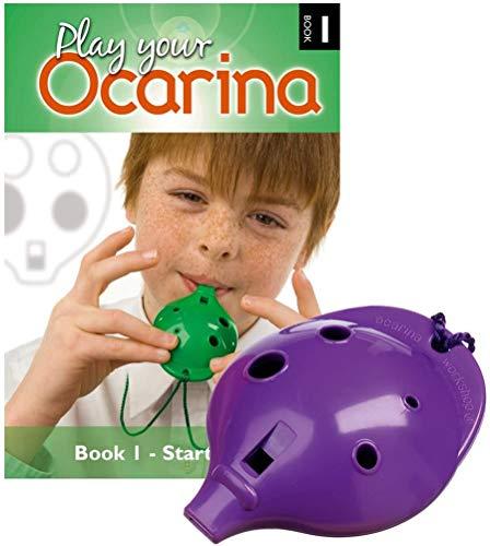 Plastic Ocarina set, Purple 4-hole, with Book 1