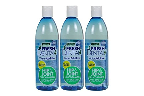 Naturel Promise Fresh Dental Water Additive for Dogs and Cats Plus Glucosamine for Healthy Hip and Joints - Pet Dental Care Water Additive Freshens Breath Up to 12 Hours, No Brushing -18 Fl Oz, 3 Pack