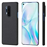 PITAKA Magnetic Phone Case for OnePlus 8 Pro Minimalist MagEZ Case 100% Aramid Fiber [Real Body Armor Material] 3D Grip Scratch Resistant Durable Perfectly Fit Cover-Black/Grey(Twill)