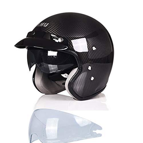 DUTUI Casco de fibra de carbono para motocicleta, para hombre y mujer, resistente al desgaste, con forro transpirable, retro, casco de motocicleta, XXL