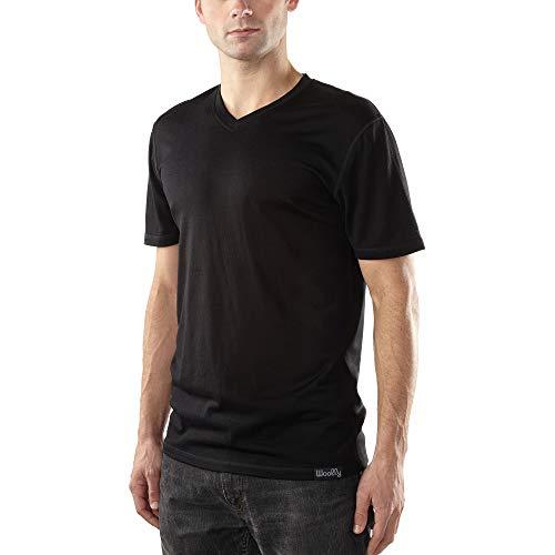 Woolly Clothing Co Men's Merino Wool V-Neck Hiking and Travel T-Shirt,Black,X-Large