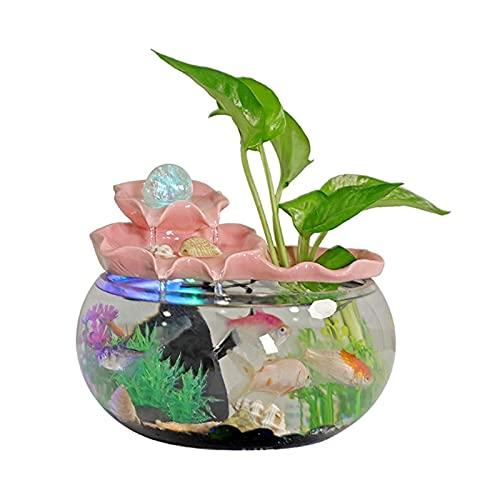 WBDZ Fuentes de Agua, Fuente de Escritorio Fuente de cerámica de Loto para Interior, pequeño, Ocio, Cascada, pecera, para decoración de la Oficina en casa (Color: Rosa, tamaño: Grande)
