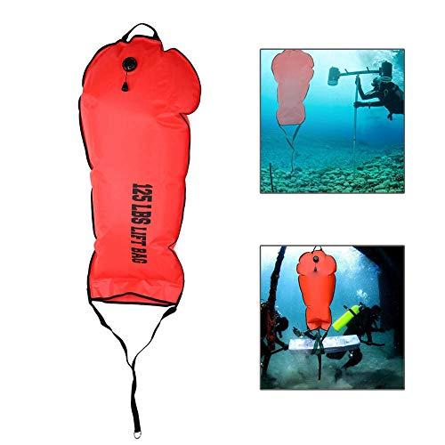 Bolsa de Seguridad de Buceo,60LBS/125LBS Bolsa de Flotador de Buceo de Bomba de Válvula de Descarga de Alta Visibilidad Bolsa de Elevación de Natación Accesorio para Buceo Natación Snorkel(125 LBS)