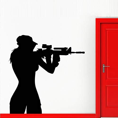 Teen Sniper Shooter Army Girl Entfernbare Wandaufkleber für Wohnzimmer Hintergrund Kunst Dekor Vinyl Tapete Aufkleber Poster 42X68 cm
