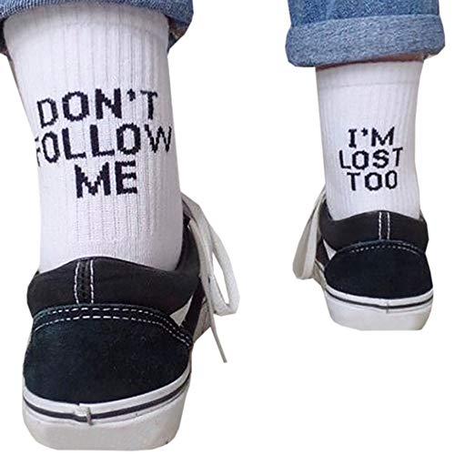 Meifyomng Lustige Brief Baumwolle Socken Don't Follow ME/I'm Lost Too für Business, Sports, Freizeit, Täglicher Gebrauch(Weiß)