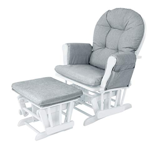 Babylo Milan Reclining Glider Nursing and Maternity Chair and Matching Footstool - White Finished Wooden Frame and Luxury Cushions