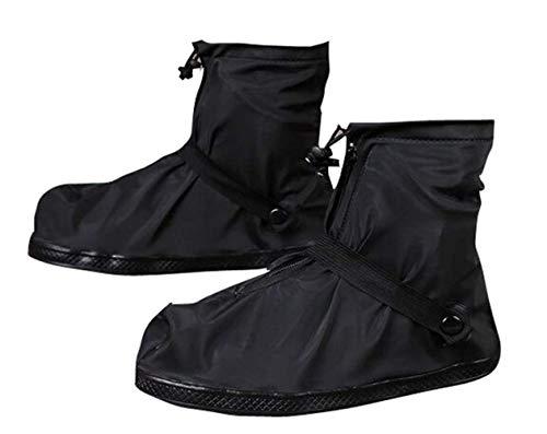 Homme réutilisable étanche Protection antidérapante Haute Tissu élastique Couvre-Chaussures Chaussures Housse Noir à Fermeture Éclair Snow Couvre-Bottes de Pluie de Protection Pluie Gear, Noir, XXL