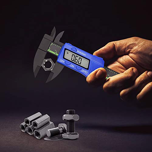 Electronic Digital Caliper Vernier Caliper, 6 inch Measuring Tools Plastic Calipers with Large LCD Screen, 0-6 Inch/0-150 mm Conversion Auto Off Featured(Blue)