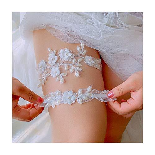 Campsis Pearl Bridal Garter Set White Flower Bride Wedding Garters Belt Handmade Leaf Strecth Prom for Women and Girls (Set of 2)