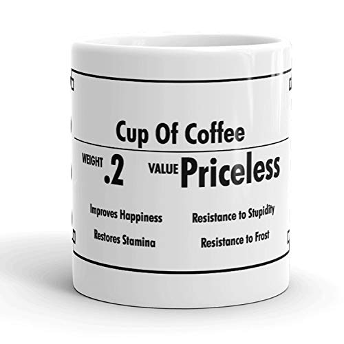 Cup of Coffee Inventory Value Priceless Funny Ceramic Coffee Drinking Mug - 11oz