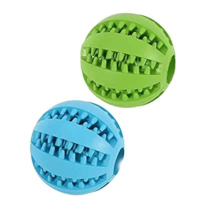 Dog Toy Ball,Nontoxic Bite Resistant Toy Ball for Pet Dogs Puppy Cat,Dog Pet Food Treat Feeder Chew Tooth Cleaning Ball