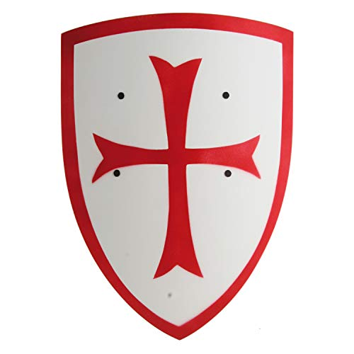 Crusader Knight Wooden Shield (Large – Red/White) – Kids Accessory (Accessoire de Costume)