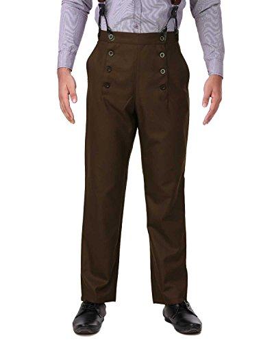 ThePirateDressing Herren-Hose, Steampunk, viktorianisch, Cosplay-Kostüm Gr. 36-41, Espresso (Polyesterviskosegewebe)