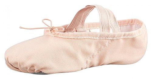 tanzmuster Ballettschuhe/Ballettschläppchen aus Leinen Dani, ganze Sohle, für Kinder und Erwachsene in rosa-apricot, Größe:34